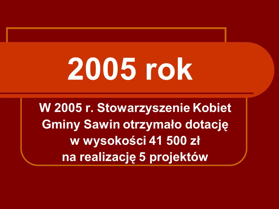 2005 rok W 2005 r. Stowarzyszenie Kobiet Gminy Sawin otrzymało dotację w wysokości 41 500 zł na realizację 5 projektów