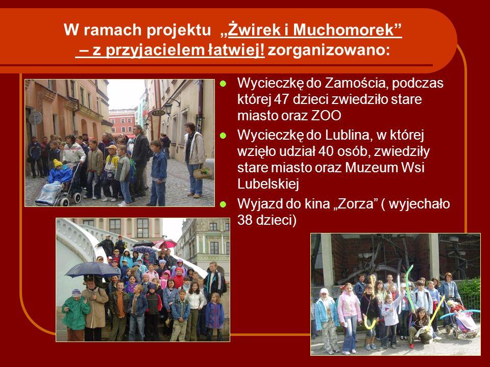 W ramach projektu Żwirek i Muchomorek – z przyjacielem łatwiej! zorganizowano: Wycieczkę do Zamościa, podczas której 47 dzieci zwiedziło stare miasto