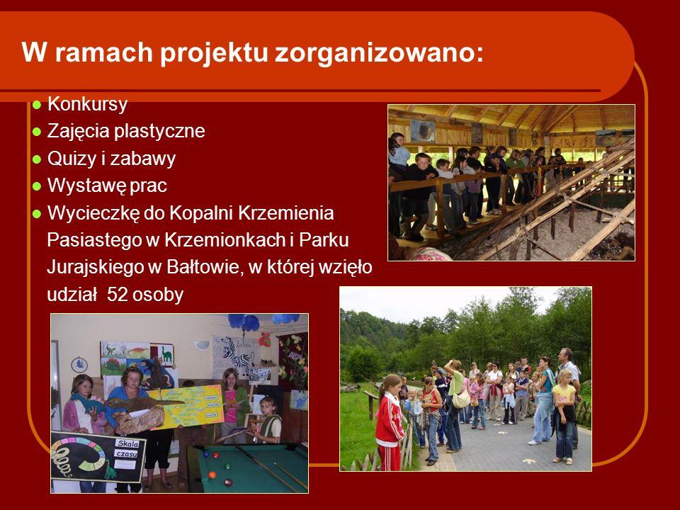 W ramach projektu zorganizowano: Konkursy Zajęcia plastyczne Quizy i zabawy Wystawę prac Wycieczkę do Kopalni Krzemienia Pasiastego w Krzemionkach i P