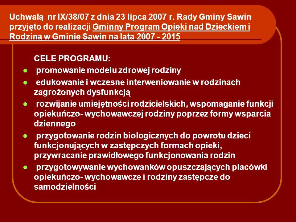 Uchwałą nr IX/38/07 z dnia 23 lipca 2007 r. Rady Gminy Sawin przyjęto do realizacji Gminny Program Opieki nad Dzieckiem i Rodziną w Gminie Sawin na la