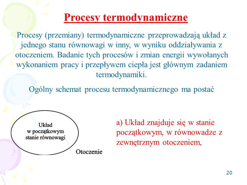 20 Procesy termodynamiczne Procesy (przemiany) termodynamiczne przeprowadzają układ z jednego stanu równowagi w inny, w wyniku oddziaływania z otoczen