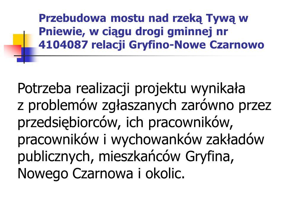 Potrzeba realizacji projektu wynikała z problemów zgłaszanych zarówno przez przedsiębiorców, ich pracowników, pracowników i wychowanków zakładów publicznych, mieszkańców Gryfina, Nowego Czarnowa i okolic.