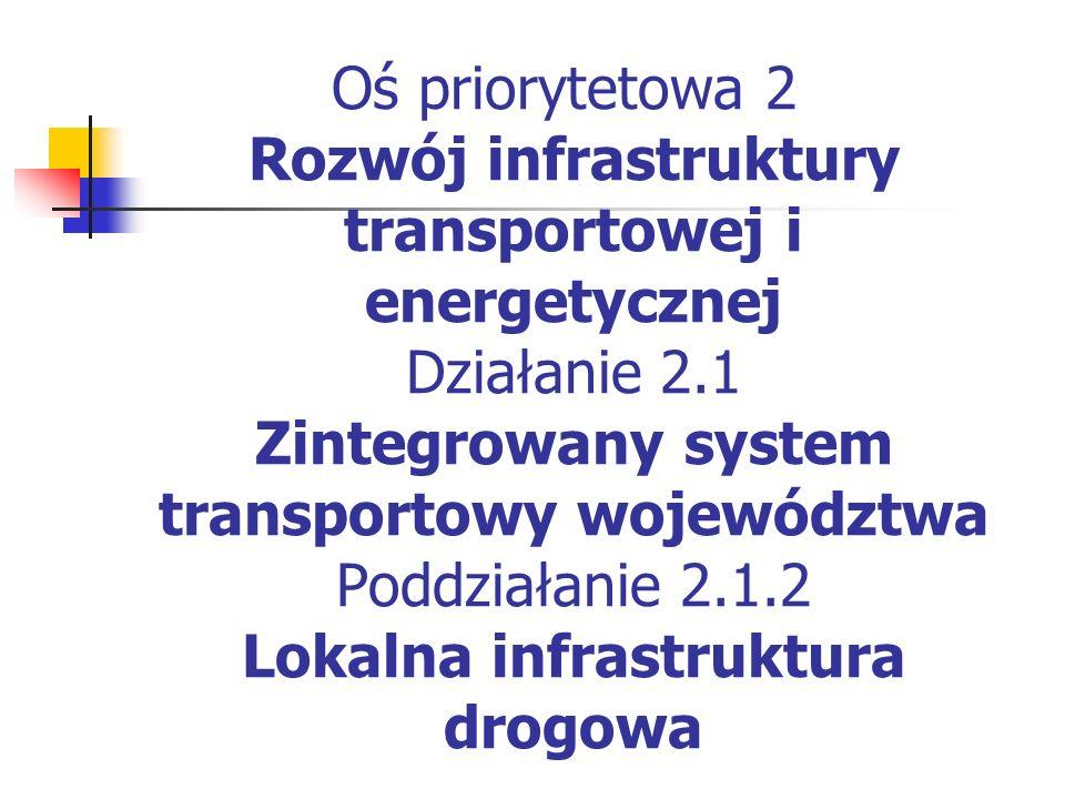 Oś priorytetowa 2 Rozwój infrastruktury transportowej i energetycznej Działanie 2.1 Zintegrowany system transportowy województwa Poddziałanie 2.1.2 Lokalna infrastruktura drogowa