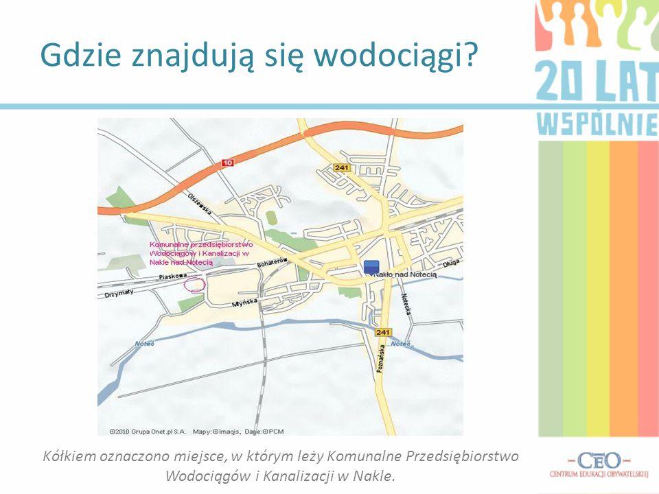 Gdzie znajdują się wodociągi? Kółkiem oznaczono miejsce, w którym leży Komunalne Przedsiębiorstwo Wodociągów i Kanalizacji w Nakle.