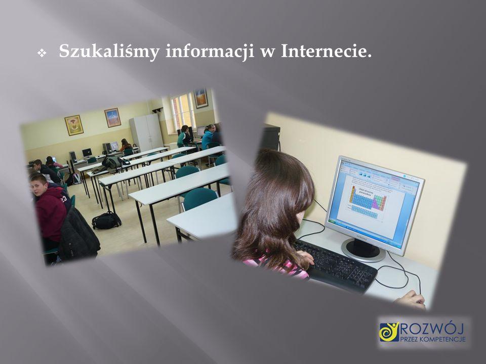 Szukaliśmy informacji w Internecie.