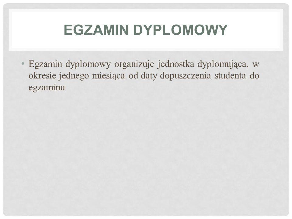 EGZAMIN DYPLOMOWY Egzamin dyplomowy organizuje jednostka dyplomująca, w okresie jednego miesiąca od daty dopuszczenia studenta do egzaminu