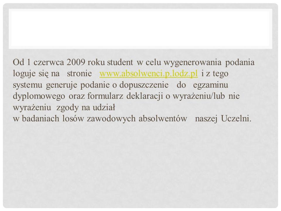 Od 1 czerwca 2009 roku student w celu wygenerowania podania loguje się na stronie www.absolwenci.p.lodz.pl i z tego systemu generuje podanie o dopuszc