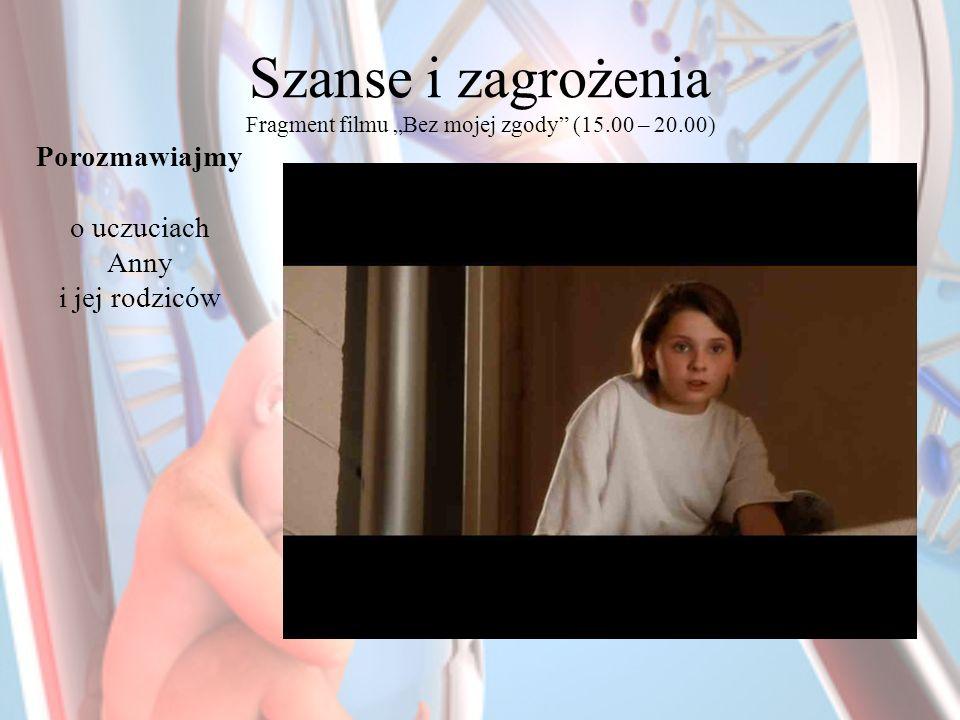 Szanse i zagrożenia Fragment filmu Bez mojej zgody (15.00 – 20.00) Porozmawiajmy o uczuciach Anny i jej rodziców
