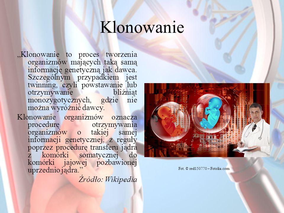 Klonowanie Klonowanie to proces tworzenia organizmów mających taką samą informację genetyczną jak dawca. Szczególnym przypadkiem jest twinning, czyli