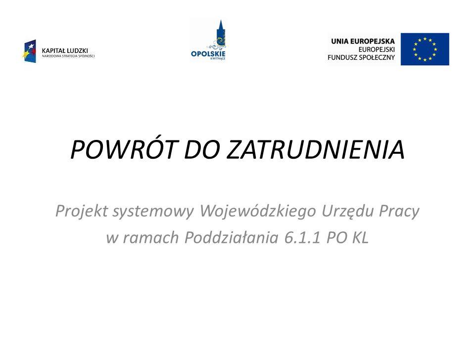 POWRÓT DO ZATRUDNIENIA Projekt systemowy Wojewódzkiego Urzędu Pracy w ramach Poddziałania 6.1.1 PO KL