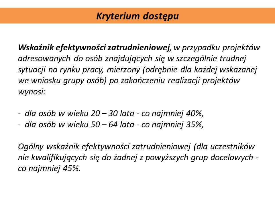 Komplementarność projektu Kryterium dostępu Wskaźnik efektywności zatrudnieniowej, w przypadku projektów adresowanych do osób znajdujących się w szcze