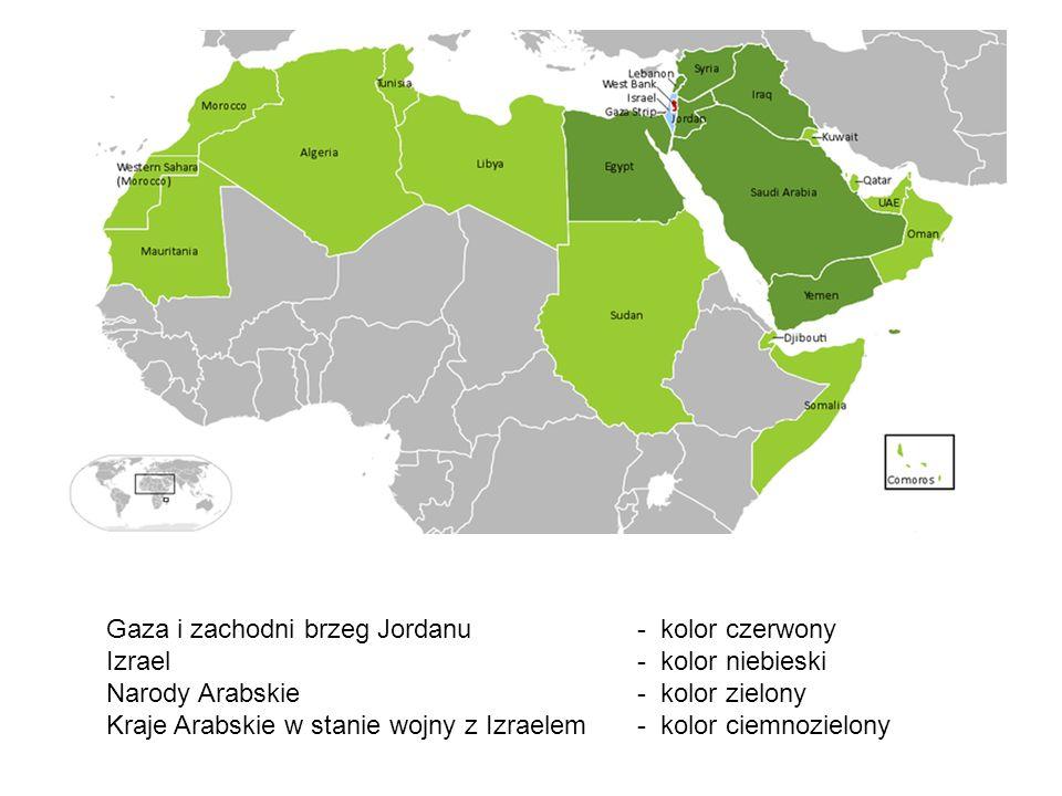 Gaza i zachodni brzeg Jordanu - kolor czerwony Izrael - kolor niebieski Narody Arabskie - kolor zielony Kraje Arabskie w stanie wojny z Izraelem- kolo