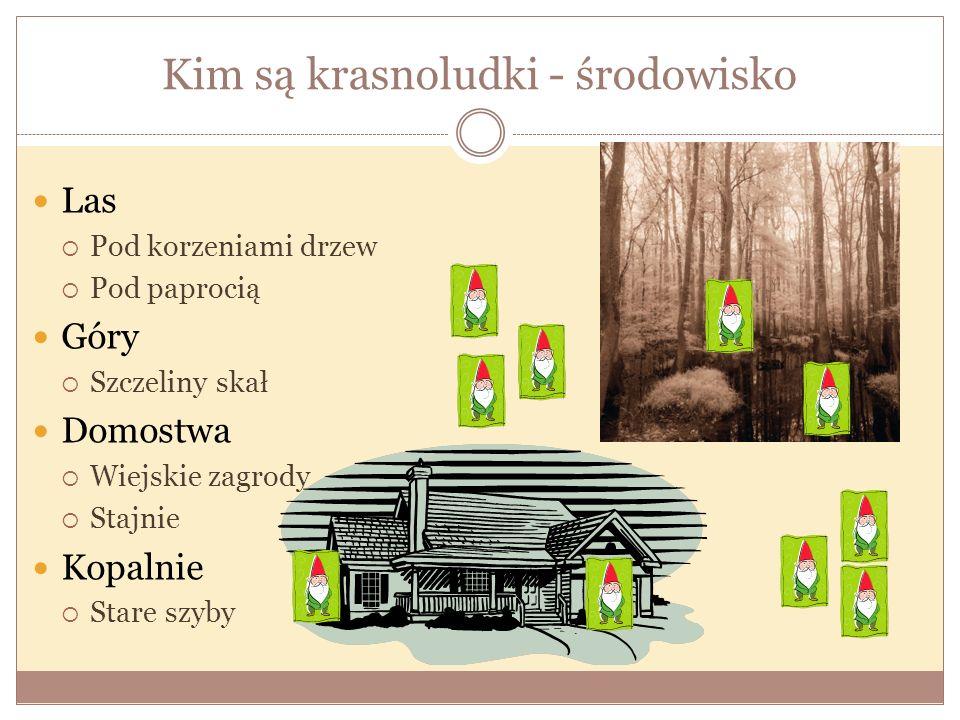 Kim są krasnoludki - środowisko Las Pod korzeniami drzew Pod paprocią Góry Szczeliny skał Domostwa Wiejskie zagrody Stajnie Kopalnie Stare szyby