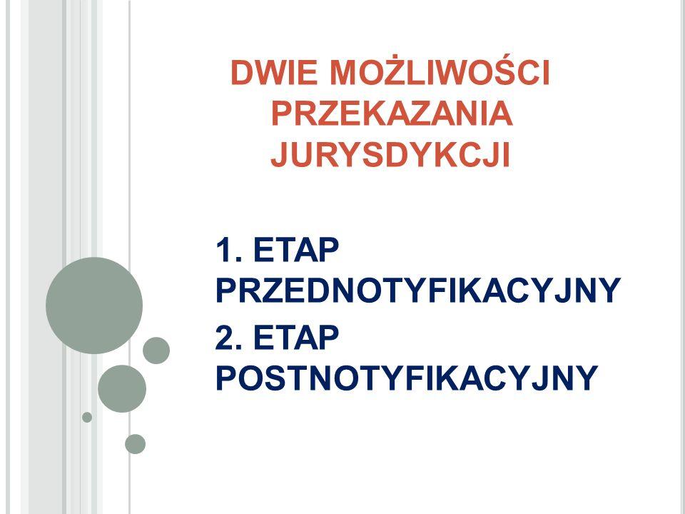 DWIE MOŻLIWOŚCI PRZEKAZANIA JURYSDYKCJI 1. ETAP PRZEDNOTYFIKACYJNY 2. ETAP POSTNOTYFIKACYJNY