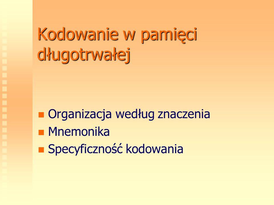 Kodowanie w pamięci długotrwałej Organizacja według znaczenia Mnemonika Specyficzność kodowania