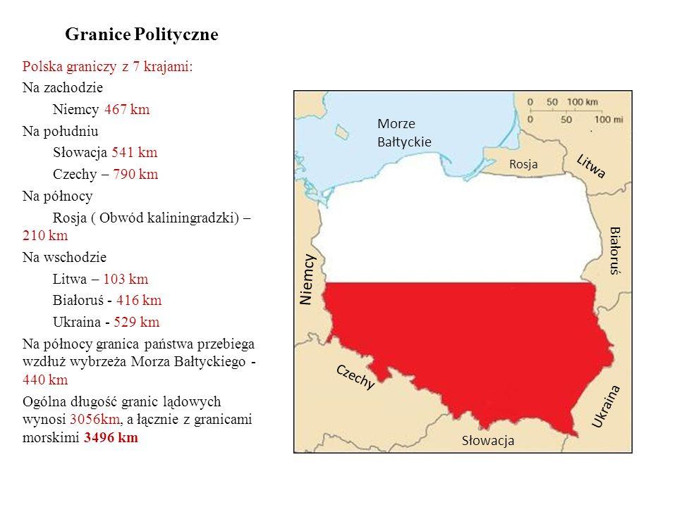 Granice Polityczne Polska graniczy z 7 krajami: Na zachodzie Niemcy 467 km Na południu Słowacja 541 km Czechy – 790 km Na północy Rosja ( Obwód kaliningradzki) – 210 km Na wschodzie Litwa – 103 km Białoruś - 416 km Ukraina - 529 km Na północy granica państwa przebiega wzdłuż wybrzeża Morza Bałtyckiego - 440 km Ogólna długość granic lądowych wynosi 3056km, a łącznie z granicami morskimi 3496 km Rosja Litwa Białoruś Ukraina Słowacja Czechy Niemcy Morze Bałtyckie