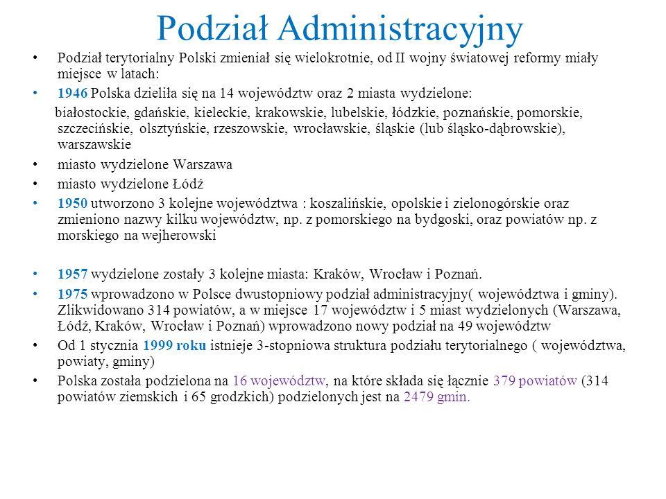 Podział Administracyjny Podział terytorialny Polski zmieniał się wielokrotnie, od II wojny światowej reformy miały miejsce w latach: 1946 Polska dzieliła się na 14 województw oraz 2 miasta wydzielone: białostockie, gdańskie, kieleckie, krakowskie, lubelskie, łódzkie, poznańskie, pomorskie, szczecińskie, olsztyńskie, rzeszowskie, wrocławskie, śląskie (lub śląsko-dąbrowskie), warszawskie miasto wydzielone Warszawa miasto wydzielone Łódź 1950 utworzono 3 kolejne województwa : koszalińskie, opolskie i zielonogórskie oraz zmieniono nazwy kilku województw, np.