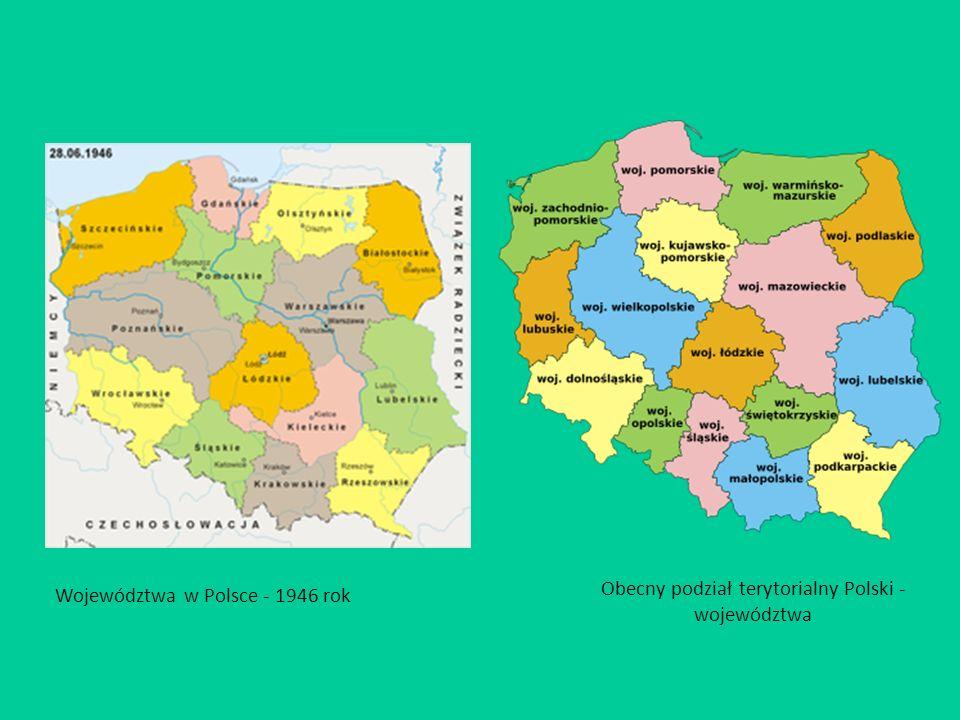 Obecny podział terytorialny Polski - województwa Województwa w Polsce - 1946 rok