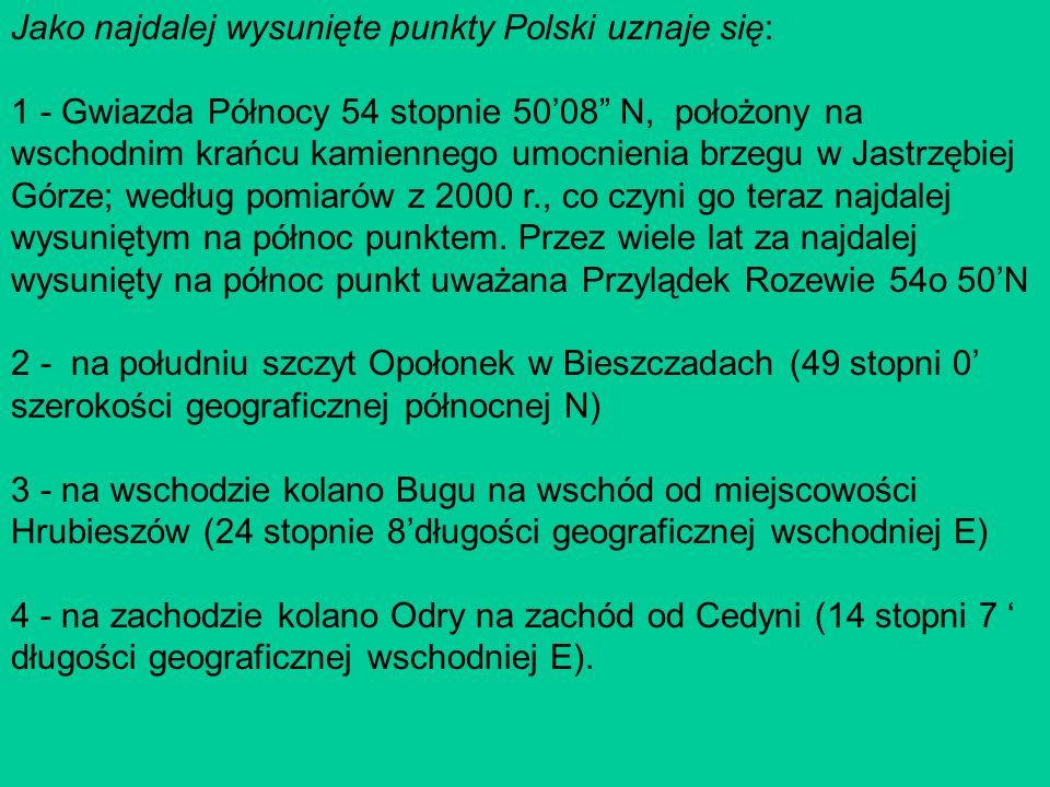 Jako najdalej wysunięte punkty Polski uznaje się: 1 - Gwiazda Północy 54 stopnie 5008 N, położony na wschodnim krańcu kamiennego umocnienia brzegu w Jastrzębiej Górze; według pomiarów z 2000 r., co czyni go teraz najdalej wysuniętym na północ punktem.