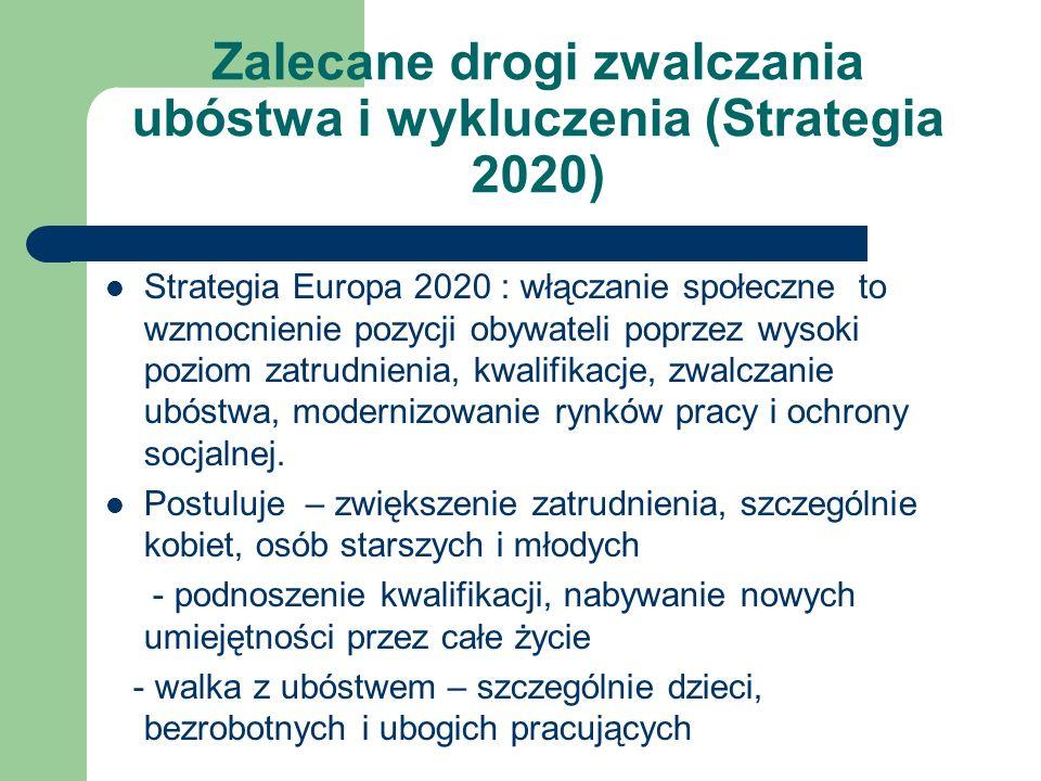 Zalecane drogi zwalczania ubóstwa i wykluczenia (Strategia 2020) Strategia Europa 2020 : włączanie społeczne to wzmocnienie pozycji obywateli poprzez wysoki poziom zatrudnienia, kwalifikacje, zwalczanie ubóstwa, modernizowanie rynków pracy i ochrony socjalnej.