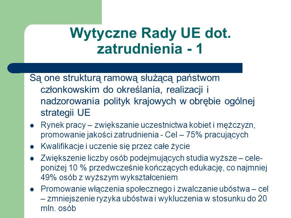 Wytyczne Rady UE dot. zatrudnienia - 1 Są one strukturą ramową służącą państwom członkowskim do określania, realizacji i nadzorowania polityk krajowyc
