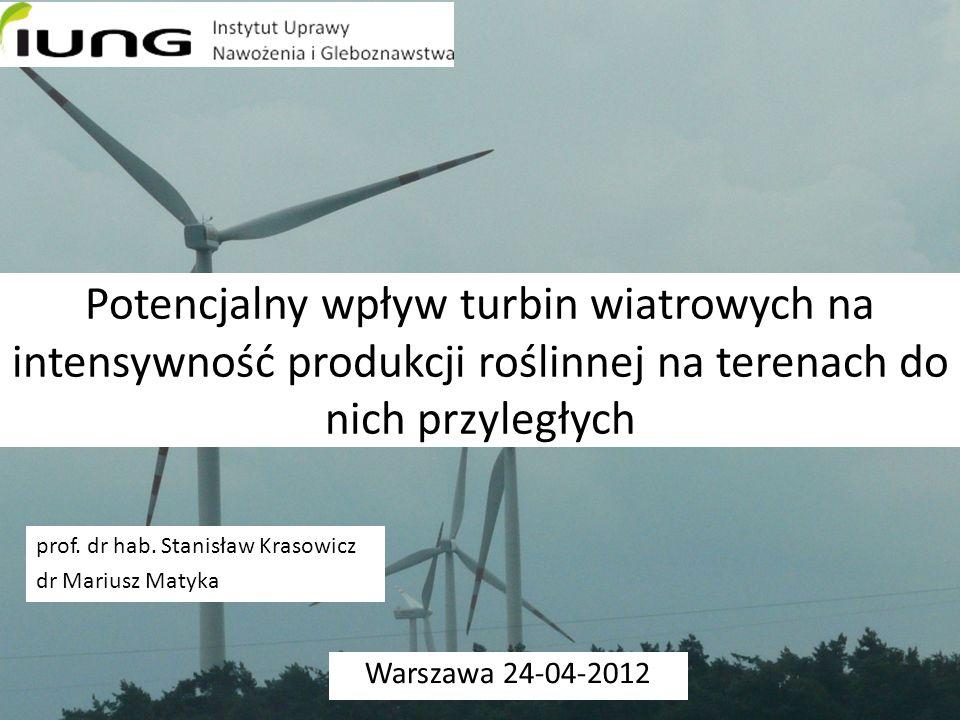 Potencjalny wpływ turbin wiatrowych na intensywność produkcji roślinnej na terenach do nich przyległych Warszawa 24-04-2012 prof.