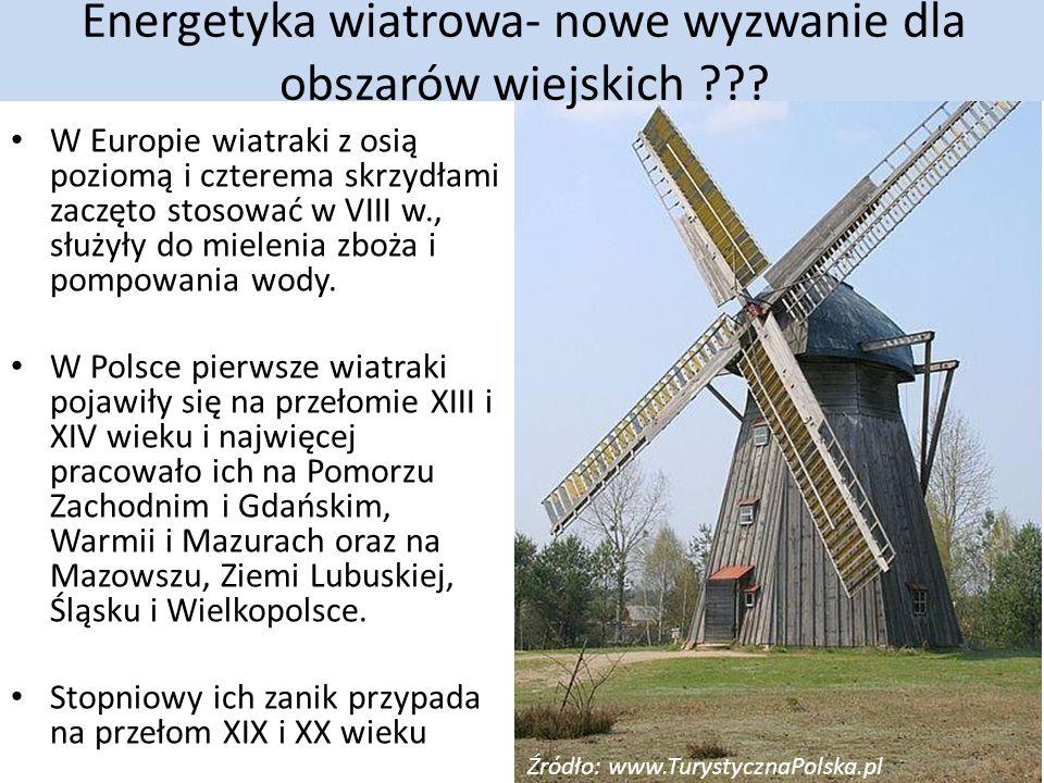 W Europie wiatraki z osią poziomą i czterema skrzydłami zaczęto stosować w VIII w., służyły do mielenia zboża i pompowania wody.