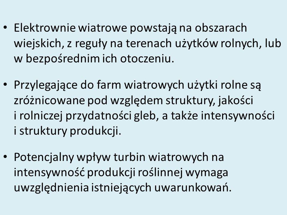 Elektrownie wiatrowe powstają na obszarach wiejskich, z reguły na terenach użytków rolnych, lub w bezpośrednim ich otoczeniu.