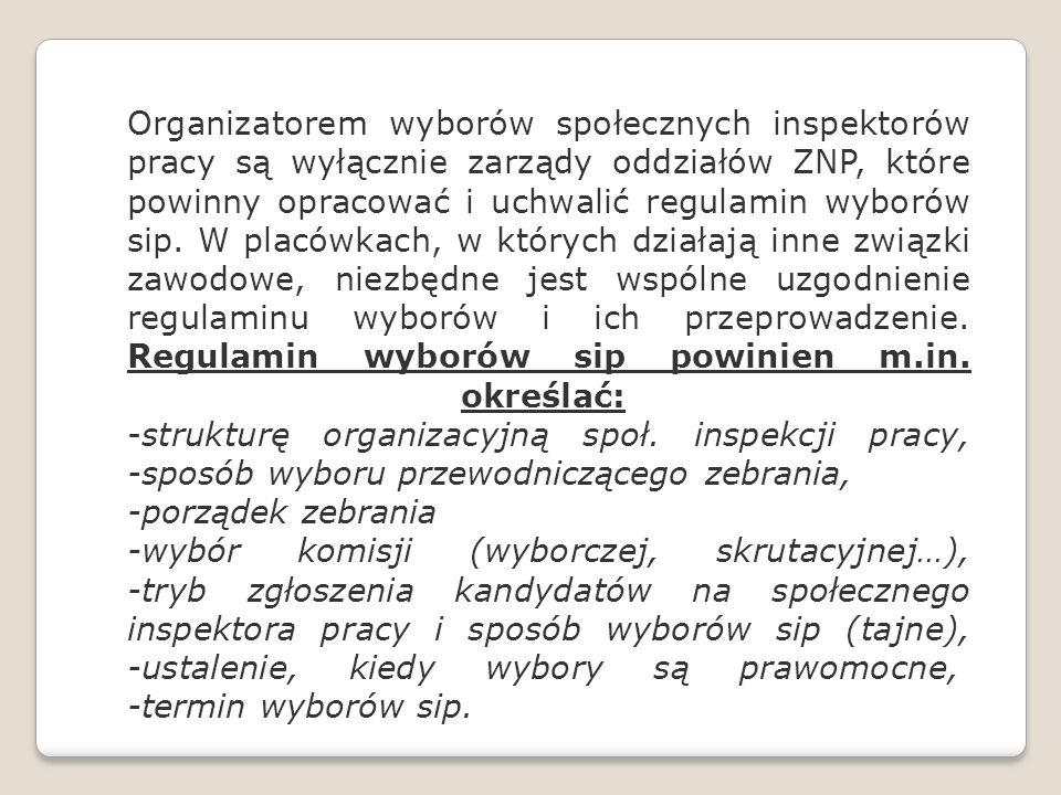 Organizatorem wyborów społecznych inspektorów pracy są wyłącznie zarządy oddziałów ZNP, które powinny opracować i uchwalić regulamin wyborów sip. W pl