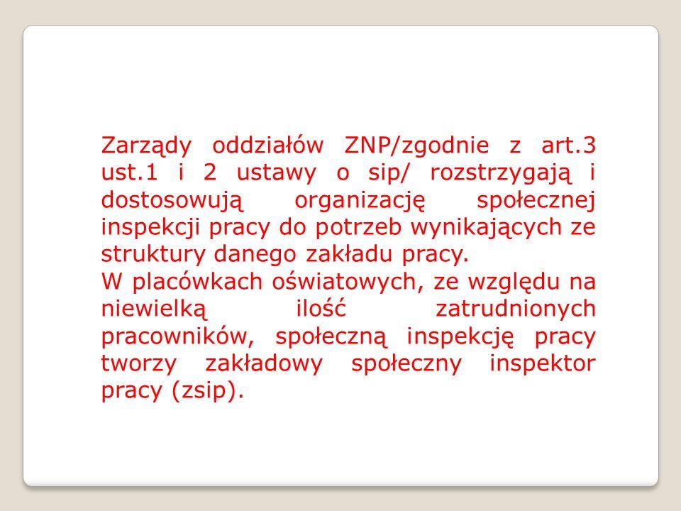 Zarządy oddziałów ZNP/zgodnie z art.3 ust.1 i 2 ustawy o sip/ rozstrzygają i dostosowują organizację społecznej inspekcji pracy do potrzeb wynikającyc