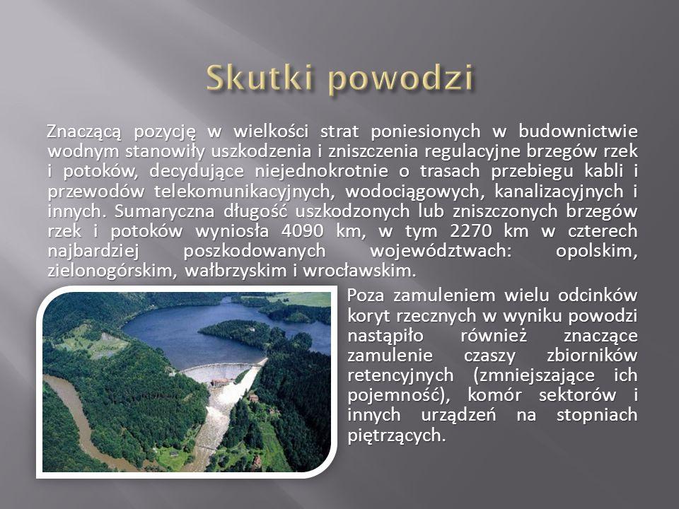 Znaczącą pozycję w wielkości strat poniesionych w budownictwie wodnym stanowiły uszkodzenia i zniszczenia regulacyjne brzegów rzek i potoków, decydują