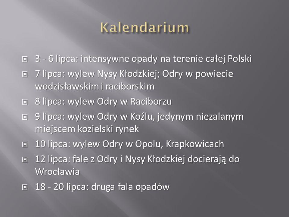 3 - 6 lipca: intensywne opady na terenie całej Polski 3 - 6 lipca: intensywne opady na terenie całej Polski 7 lipca: wylew Nysy Kłodzkiej; Odry w powi