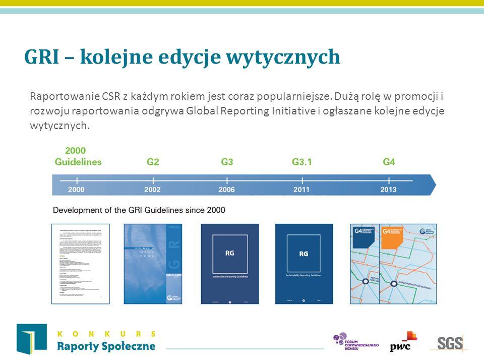 GRI – kolejne edycje wytycznych Raportowanie CSR z każdym rokiem jest coraz popularniejsze. Dużą rolę w promocji i rozwoju raportowania odgrywa Global