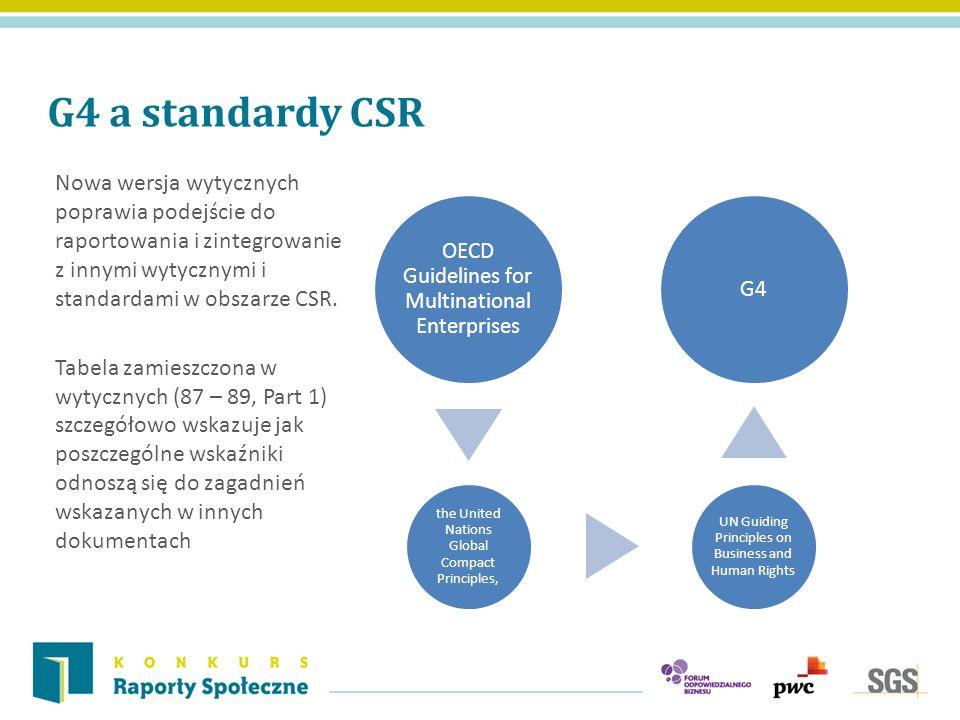 G4 a standardy CSR Nowa wersja wytycznych poprawia podejście do raportowania i zintegrowanie z innymi wytycznymi i standardami w obszarze CSR. Tabela