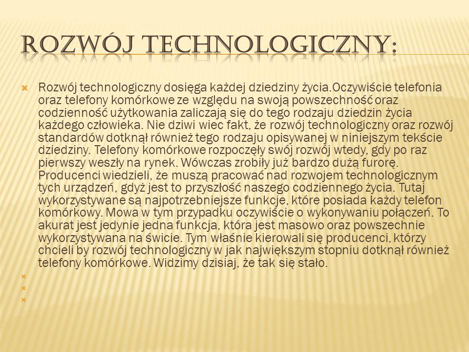 Rozwój technologiczny dosięga każdej dziedziny życia.Oczywiście telefonia oraz telefony komórkowe ze względu na swoją powszechność oraz codzienność uż