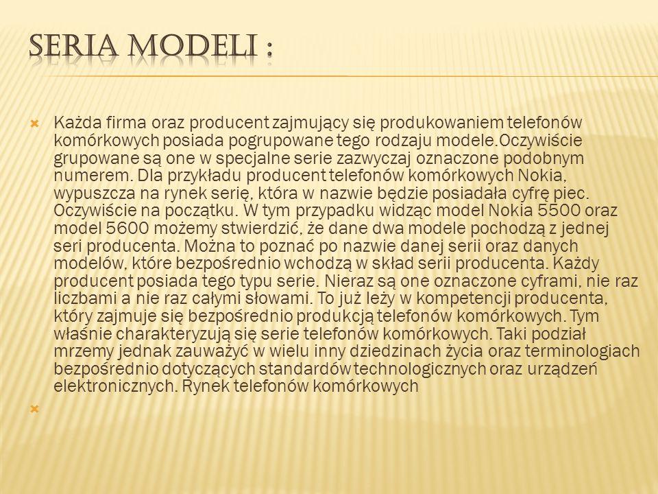 Każda firma oraz producent zajmujący się produkowaniem telefonów komórkowych posiada pogrupowane tego rodzaju modele.Oczywiście grupowane są one w spe