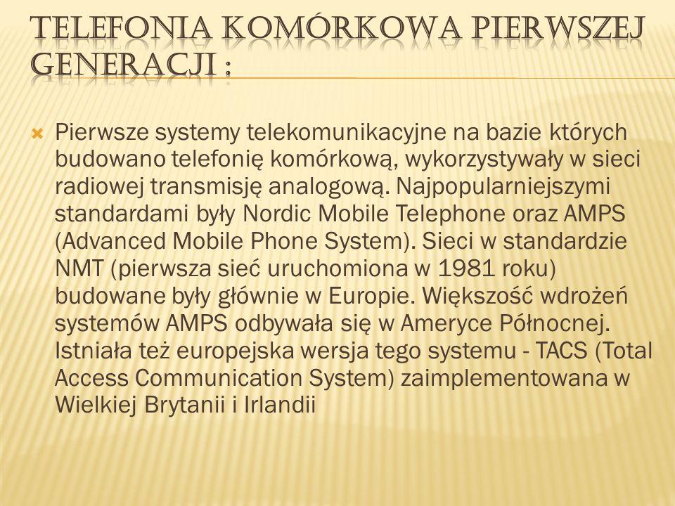 Pierwsze systemy telekomunikacyjne na bazie których budowano telefonię komórkową, wykorzystywały w sieci radiowej transmisję analogową. Najpopularniej
