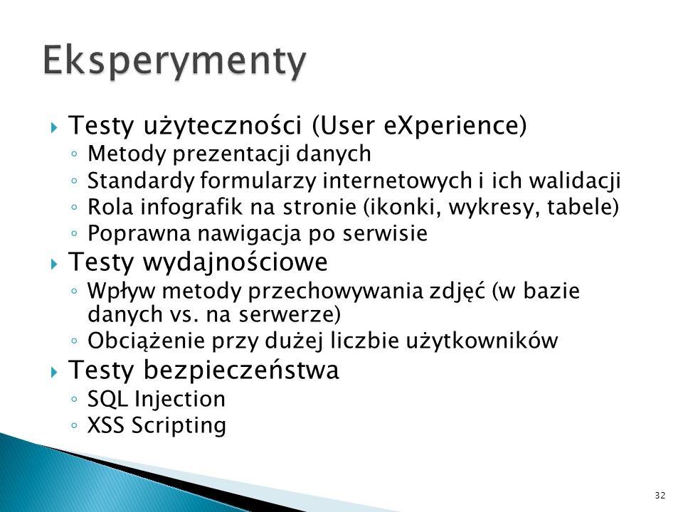 Testy użyteczności (User eXperience) Metody prezentacji danych Standardy formularzy internetowych i ich walidacji Rola infografik na stronie (ikonki,