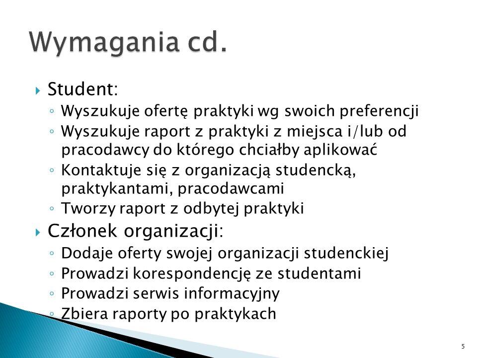 Student: Wyszukuje ofertę praktyki wg swoich preferencji Wyszukuje raport z praktyki z miejsca i/lub od pracodawcy do którego chciałby aplikować Konta