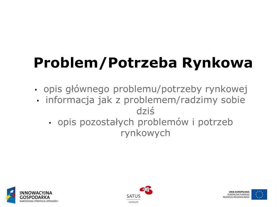 Rozwiązanie problemu: Prezentacja Produktu/Usługi opis oferowanego produktu/usługi opis jak i dlaczego zaspokajamy istniejącą potrzebę rynkową jakie inne potrzeby zaspokaja produkt/usługa krótka specyfikacja video