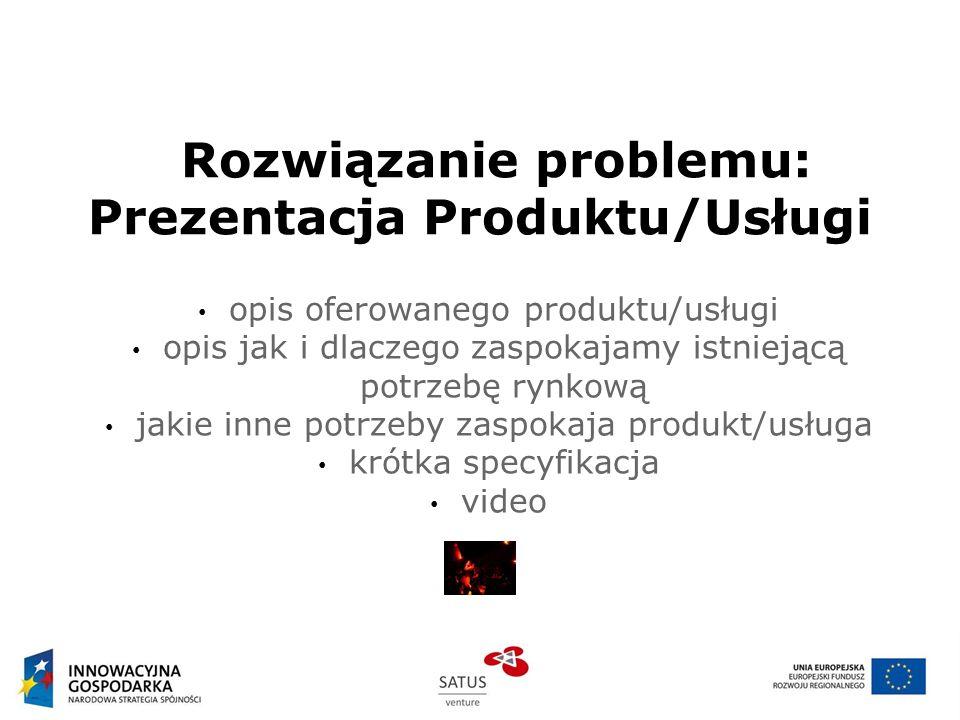 Rozwiązanie problemu: Prezentacja Produktu/Usługi opis oferowanego produktu/usługi opis jak i dlaczego zaspokajamy istniejącą potrzebę rynkową jakie i