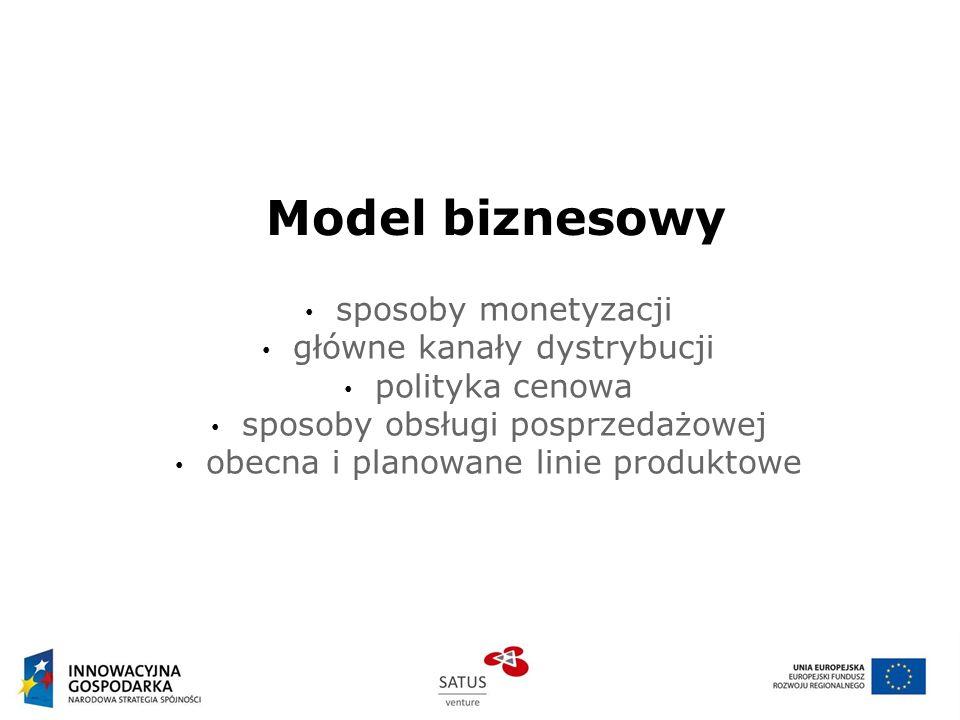 Model biznesowy sposoby monetyzacji główne kanały dystrybucji polityka cenowa sposoby obsługi posprzedażowej obecna i planowane linie produktowe