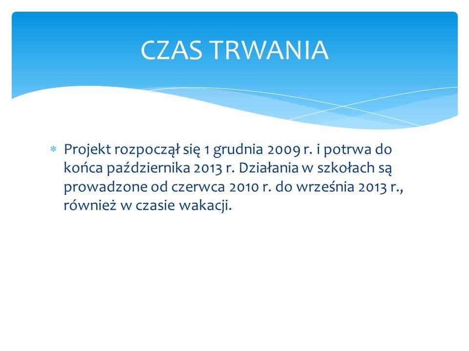 Projekt rozpoczął się 1 grudnia 2009 r.i potrwa do końca października 2013 r.