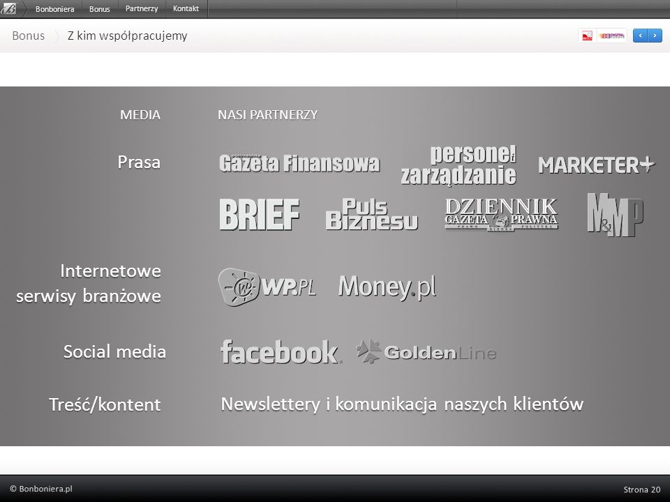 Bonus Z kim współpracujemy MEDIA NASI PARTNERZY Prasa Internetowe serwisy branżowe Social media Treść/kontent Newslettery i komunikacja naszych klient