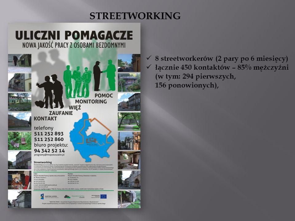 STREETWORKING 8 streetworkerów (2 pary po 6 miesięcy) łącznie 450 kontaktów – 85% mężczyźni (w tym: 294 pierwszych, 156 ponowionych),