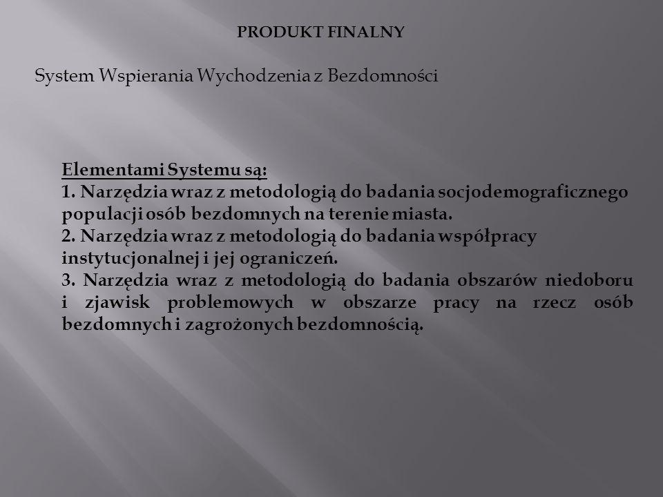 System Wspierania Wychodzenia z Bezdomności PRODUKT FINALNY Elementami Systemu są: 1. Narzędzia wraz z metodologią do badania socjodemograficznego pop