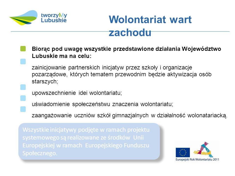 Wolontariat wart zachodu Biorąc pod uwagę wszystkie przedstawione działania Województwo Lubuskie ma na celu: zainicjowanie partnerskich inicjatyw przez szkoły i organizacje pozarządowe, których tematem przewodnim będzie aktywizacja osób starszych; upowszechnienie idei wolontariatu; uświadomienie społeczeństwu znaczenia wolontariatu; zaangażowanie uczniów szkół gimnazjalnych w działalność wolonatariacką.