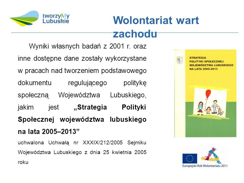 Rola i znaczenie wolontariatu dla polityki społecznej województwa wyrażone bezpośrednio w Strategii uwzględniono w szczególności w celu operacyjnym: Wspieranie rozwoju społeczeństwa obywatelskiego (Karta IV-2) w ramach którego za najważniejsze przedsięwzięcie uznano Promowanie idei społeczeństwa obywatelskiego i wolontariatu.