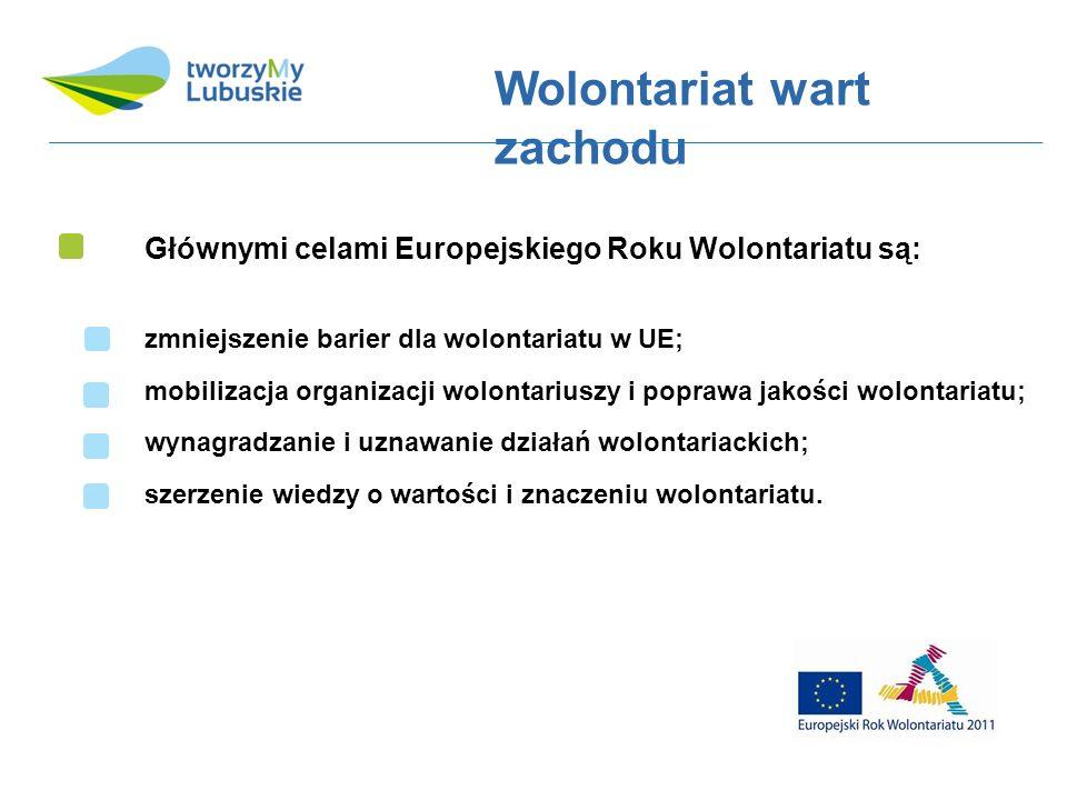 Głównymi celami Europejskiego Roku Wolontariatu są: Wolontariat wart zachodu zmniejszenie barier dla wolontariatu w UE; mobilizacja organizacji wolontariuszy i poprawa jakości wolontariatu; wynagradzanie i uznawanie działań wolontariackich; szerzenie wiedzy o wartości i znaczeniu wolontariatu.