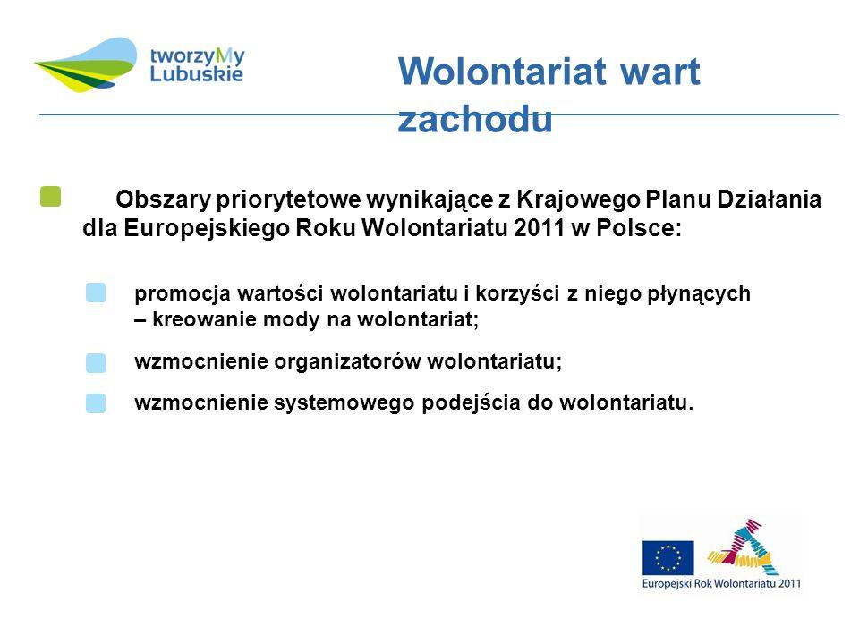 Obszary priorytetowe wynikające z Krajowego Planu Działania dla Europejskiego Roku Wolontariatu 2011 w Polsce: Wolontariat wart zachodu promocja wartości wolontariatu i korzyści z niego płynących – kreowanie mody na wolontariat; wzmocnienie organizatorów wolontariatu; wzmocnienie systemowego podejścia do wolontariatu.